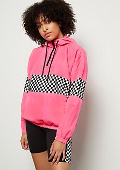 Neon Pink Checkered Print Colorblock Windbreaker