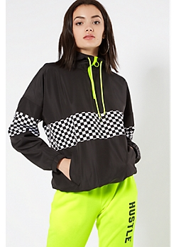 Black Checkered Print Colorblock Windbreaker