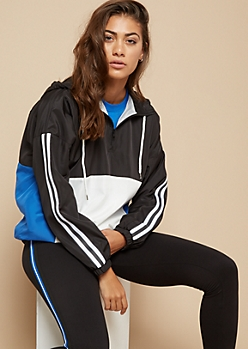 Black Colorblock Athletic Tape Striped Half Zip Windbreaker