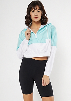 Teal Iridescent Colorblock Hooded Windbreaker