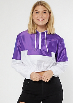 Purple Iridescent Colorblock Hooded Windbreaker
