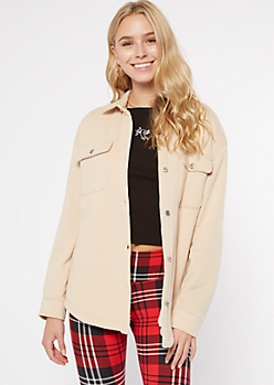 Tan Fleece Sherpa Lined Shacket