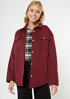 Burgundy Fleece Sherpa Lined Shacket