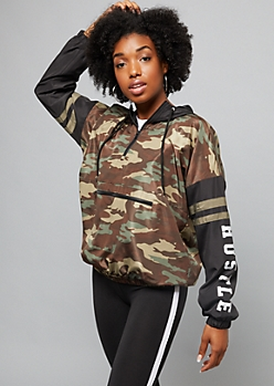 Camo Colorblock Hustle Quarter Zip Windbreaker