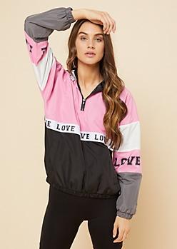 Light Pink Love Hooded Pullover Windbreaker