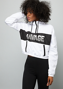 White Colorblock Savage Striped Cropped Graphic Windbreaker