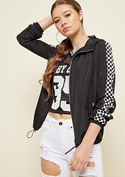 Black Checkered Sleeve Hooded Windbreaker