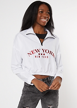 White New York Embroidered Half Zip Windbreaker