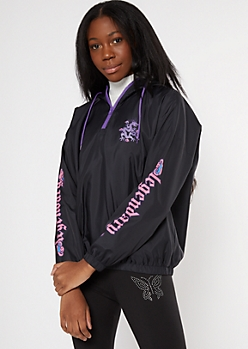 Black Legendary Dragon Graphic Half Zip Windbreaker