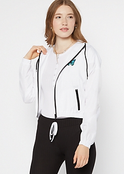 White Zip Up Butterfly Embroidered Graphic Windbreaker