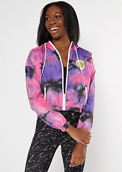Purple Tie Dye Smiley Daisy Embroidered Windbreaker