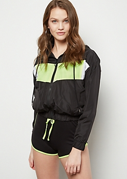 Black Neon Colorblock Zip Front Windbreaker