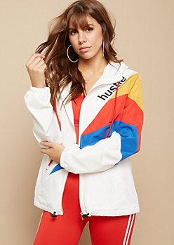 White Retro Colorblock Hustle Windbreaker