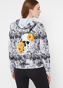 Black Tie Dye Sunflower Skull Graphic Windbreaker