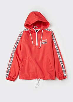 Red Lucky Dragon Half Zip Windbreaker