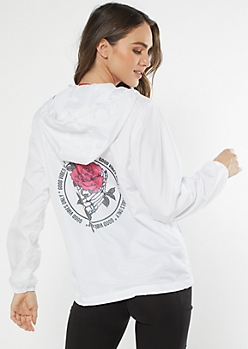 White Good Vibes Rose Graphic Windbreaker