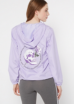 Lavender Skull Love You To Death Graphic Windbreaker