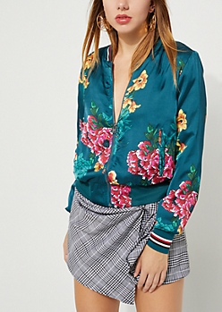 Teal Floral Sateen Bomber Jacket