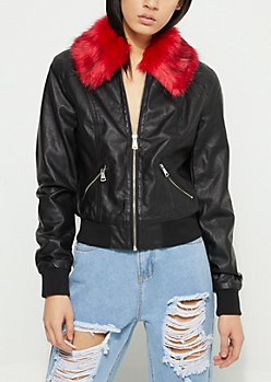 Black & Red Faux Fur Collar Bomber