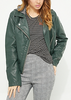Green Vegan Leather Ribbed Knit Panel Moto Jacket