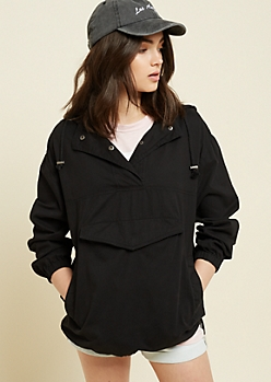 Black Twill Pullover Hooded Jacket