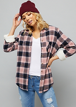 Pink Plaid Print Fleece Lined Button Down Jacket