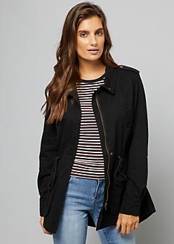 Black Roll Sleeve Anorak Jacket