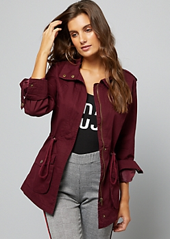 Burgundy Roll Sleeve Anorak Jacket