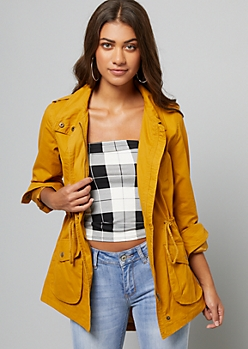 Mustard Roll Sleeve Anorak Jacket
