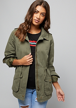 Olive Roll Sleeve Anorak Jacket