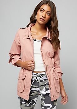 Pink Roll Sleeve Anorak Jacket