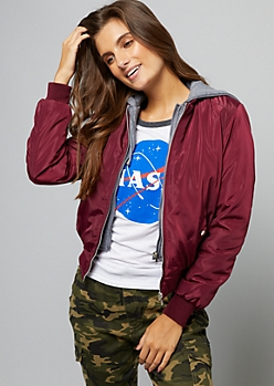 Burgundy Hooded Double Zipper Bomber Jacket