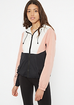 Colorblock Water Resistant Windbreaker