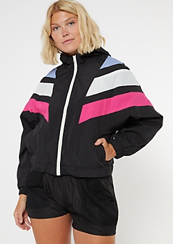 Colorblock Striped Nylon Windbreaker