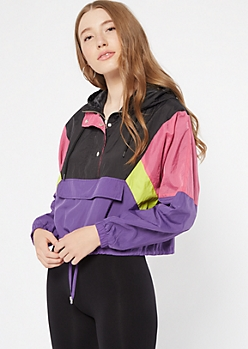 Mixed Colorblock Button Front Hooded Windbreaker