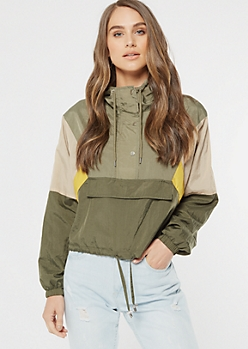 Olive Colorblock Button Front Hooded Windbreaker