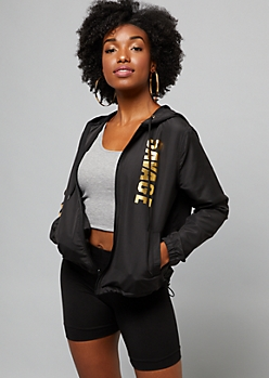 Black Gold Foil Savage Zip Front Windbreaker