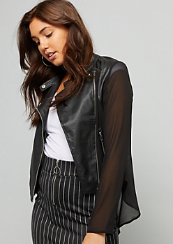 Black Chiffon Sleeve Light Moto Jacket