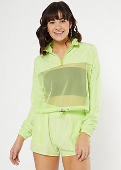 Neon Green Mesh Half Zip Windbreaker