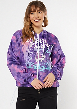 Purple Tie Dye Pink Floyd Zip Up Windbreaker