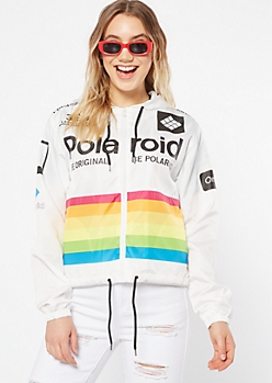 White Zip Front Polaroid Graphic Windbreaker