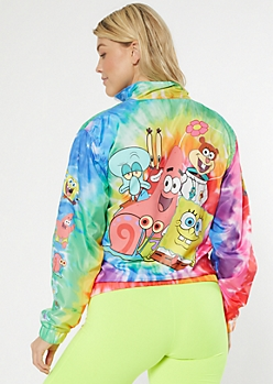 Bright Tie Dye SpongeBob SquarePants Graphic Windbreaker