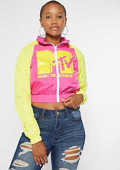 Pink Colorblock MTV Cropped Windbreaker