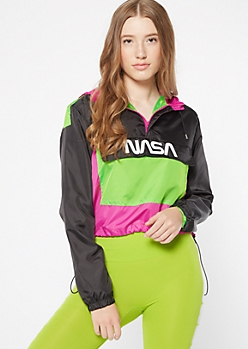 Black Colorblock NASA Graphic Windbreaker