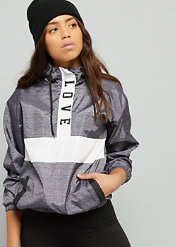 Heather Gray Colorblock Pattern Love Windbreaker