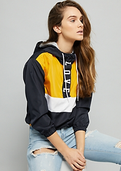 Yellow Love Colorblock Pattern Windbreaker