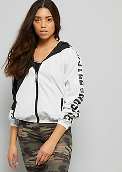Black Hustle Diagonal Colorblock Pattern Windbreaker