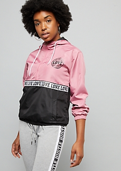 Pink Love Colorblock Pattern Pullover Windbreaker