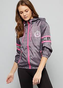 Heather Love Gray Reflective Striped Windbreaker