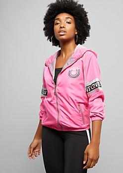 Fuchsia Love Reflective Striped Windbreaker